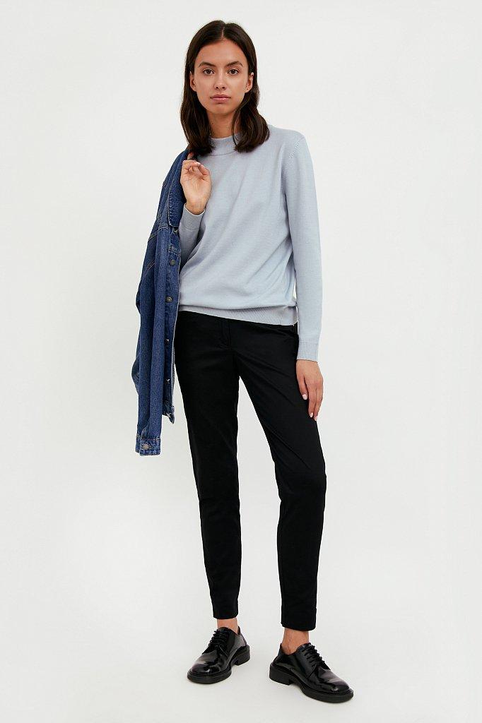 Зауженные хлопковые женские брюки с эластаном, Модель A20-11067, Фото №1