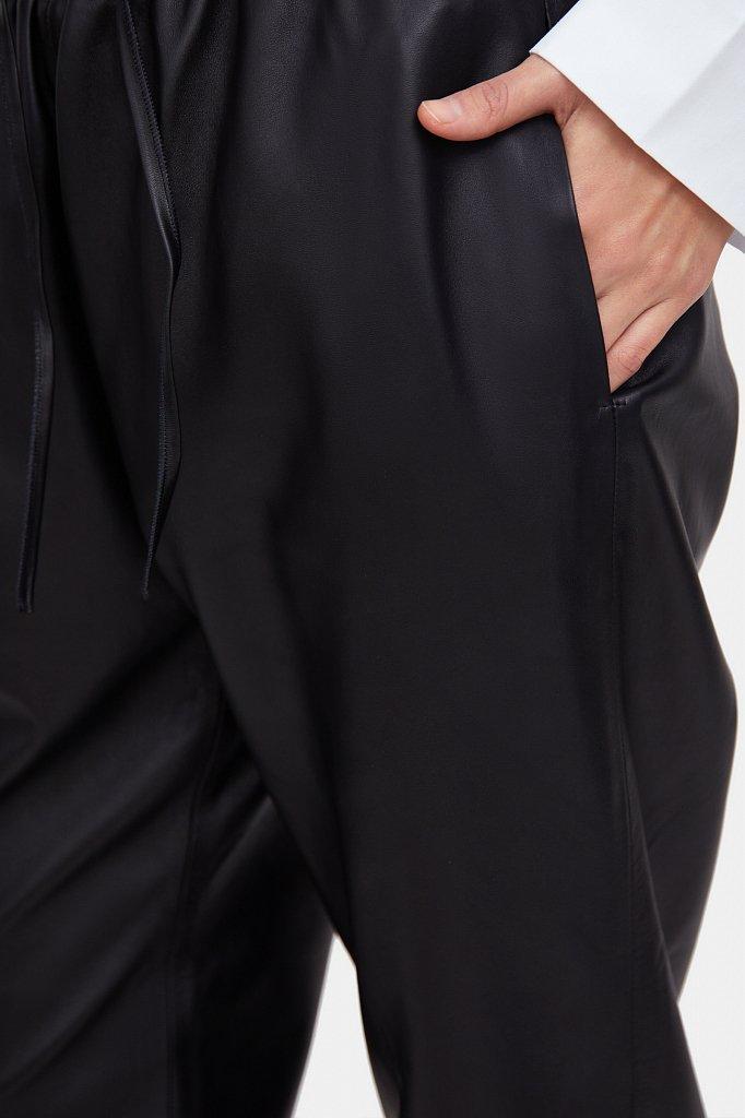 Брюки женские прямого кроя из натуральной кожи, Модель A20-11804, Фото №5