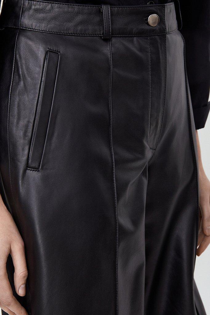 Шорты женские прямого кроя из натуральной кожи, Модель A20-11805, Фото №5