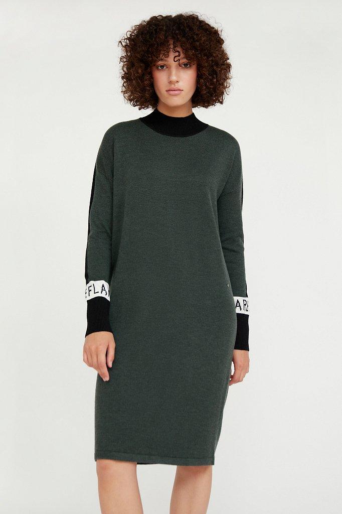 Платье женское прямого силуэта с шерстью, Модель A20-32100, Фото №1