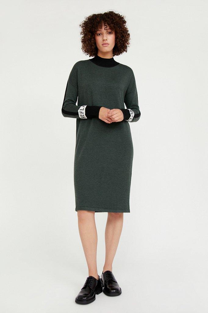 Платье женское прямого силуэта с шерстью, Модель A20-32100, Фото №2
