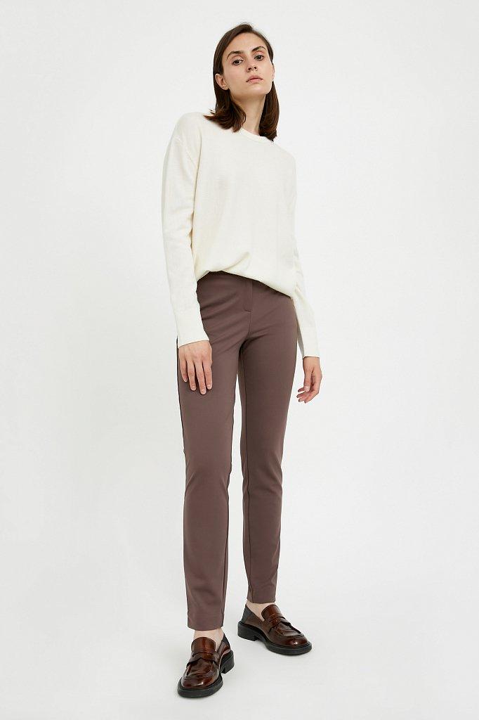 Базовые зауженные женские брюки на средней посадке, Модель A20-11045, Фото №1