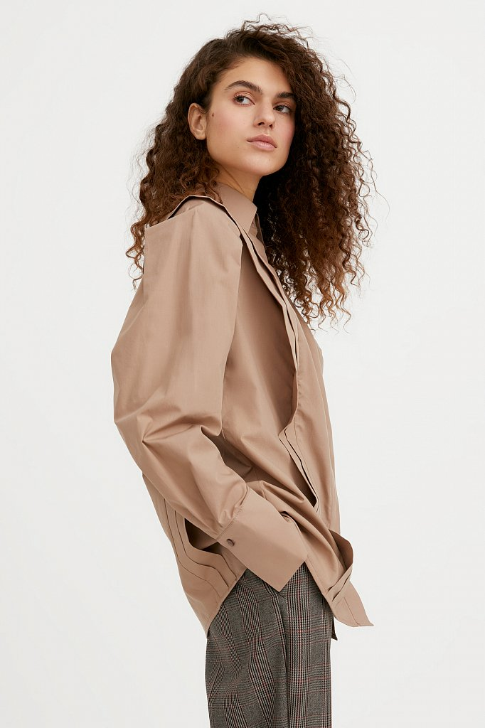 Блузка женская оверсайз с декоративной отделкой, Модель A20-11096R, Фото №1