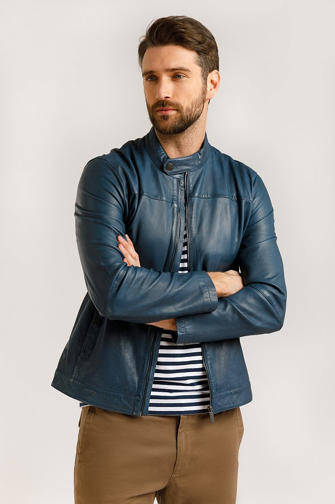 Куртка кожаная мужская, Модель B20-21804, Фото №1