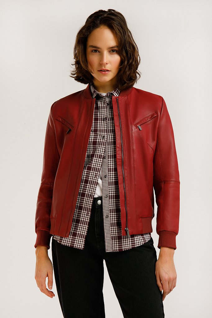 Куртка кожаная женская, Модель B20-11803, Фото №1
