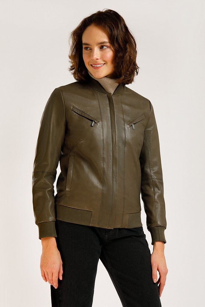Куртка кожаная женская, Модель B20-11803, Фото №3
