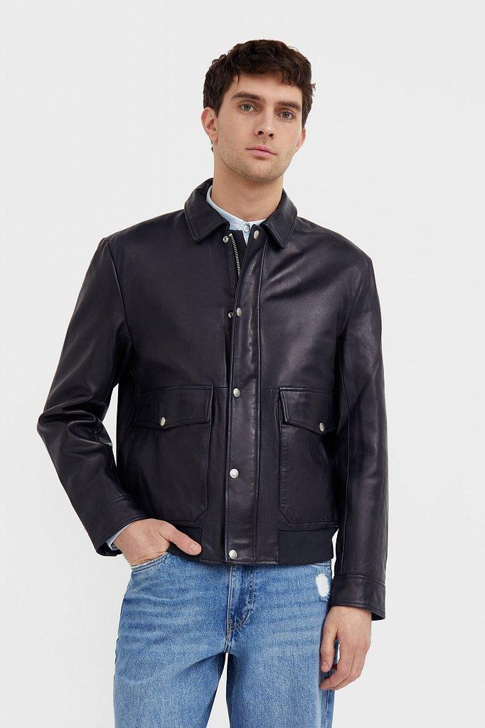 Куртка кожаная мужская, Модель B21-21801, Фото №1