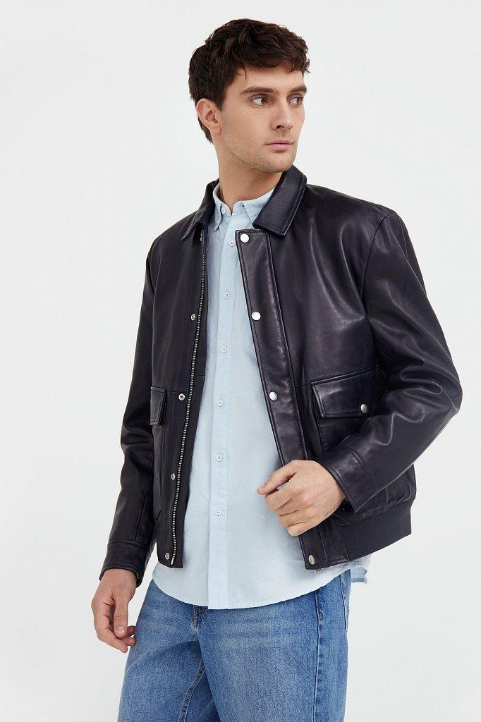 Куртка кожаная мужская, Модель B21-21801, Фото №3