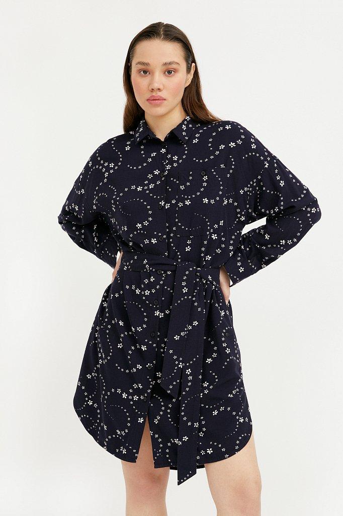 Платье-рубашка с цветочным принтом, Модель B21-32048, Фото №2