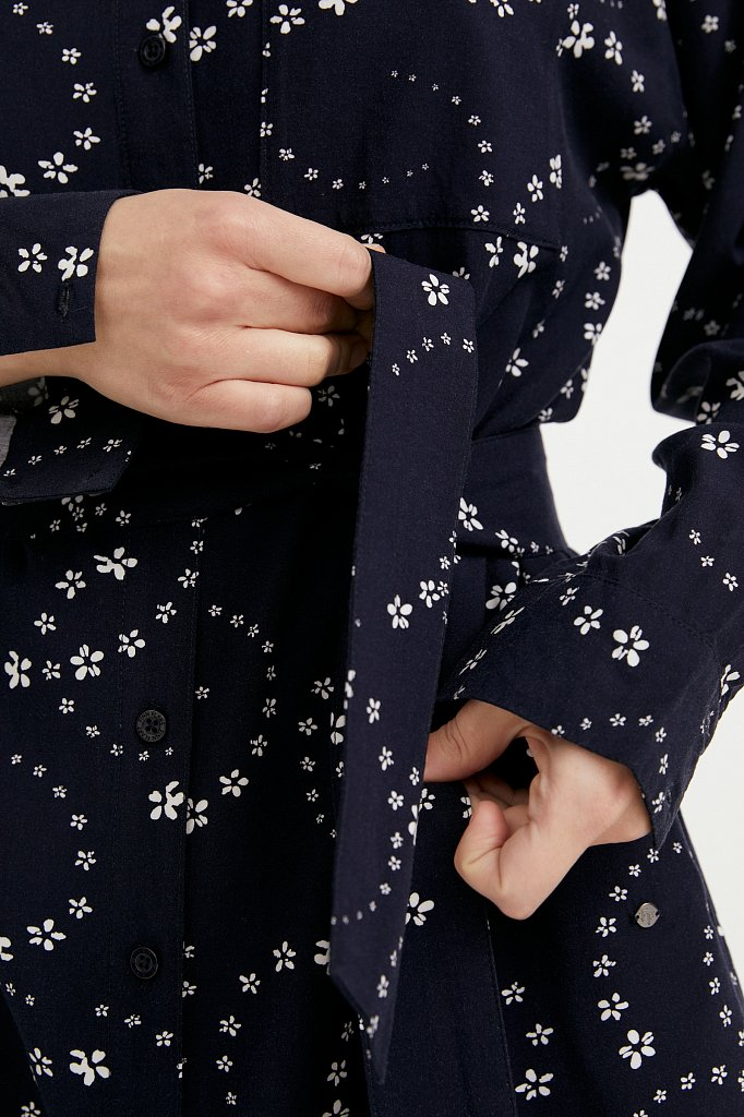 Платье-рубашка с цветочным принтом, Модель B21-32048, Фото №5