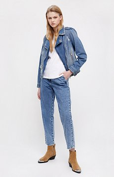 Куртка-косуха из голубого денима B21-15001