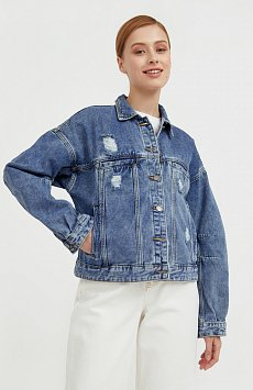 Джинсовая куртка с объемными рукавами Finn-Flare