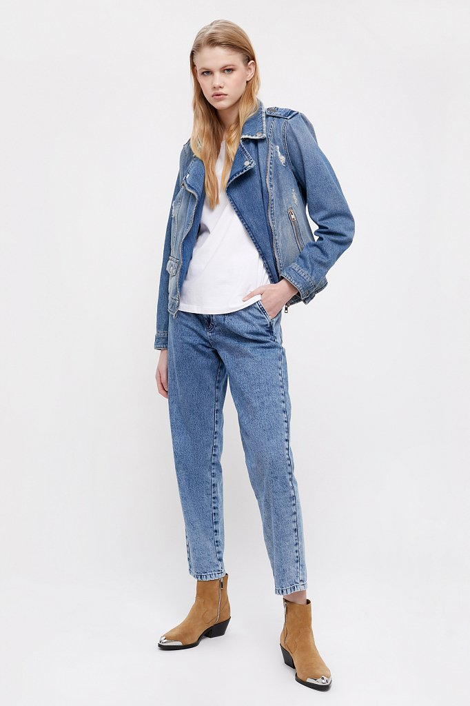Куртка-косуха из голубого денима, Модель B21-15001, Фото №1