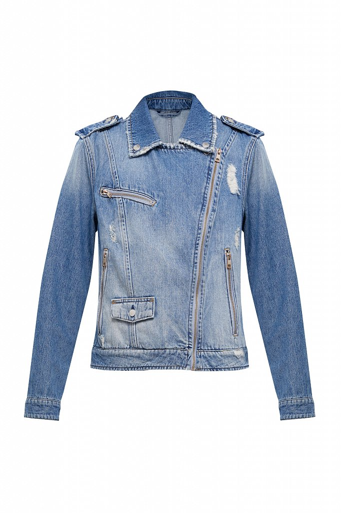 Куртка-косуха из голубого денима, Модель B21-15001, Фото №8