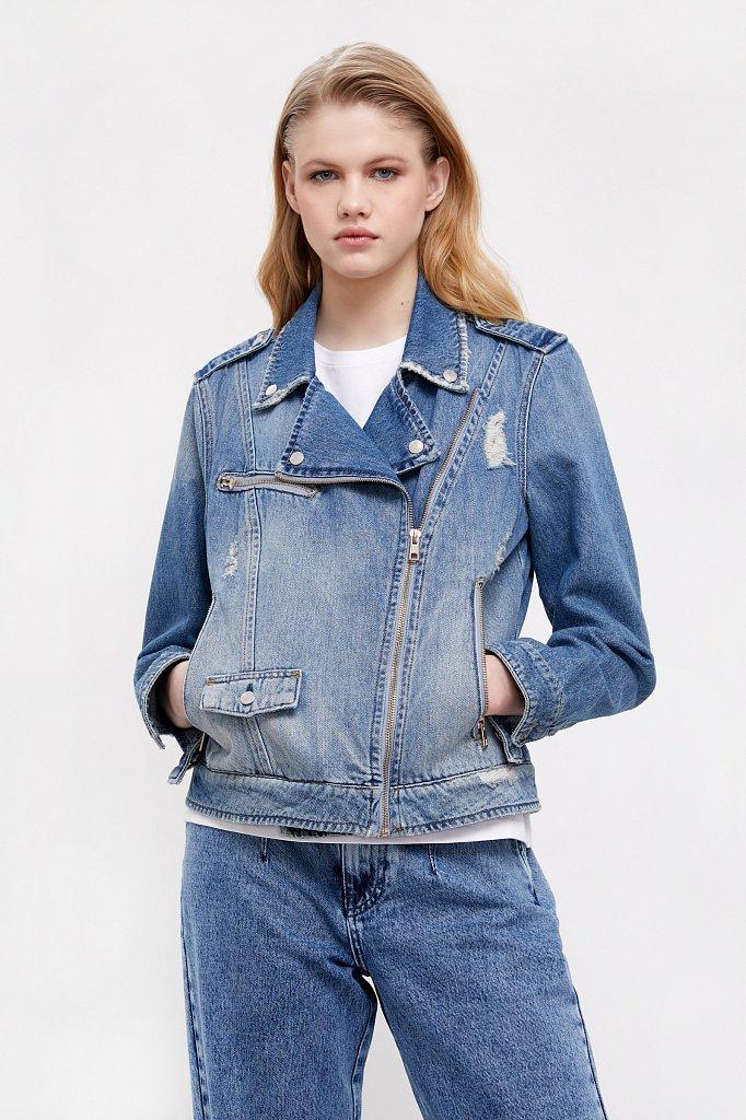 Куртка-косуха из голубого денима, Модель B21-15001, Фото №2