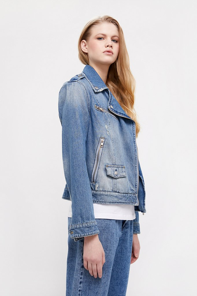 Куртка-косуха из голубого денима, Модель B21-15001, Фото №4
