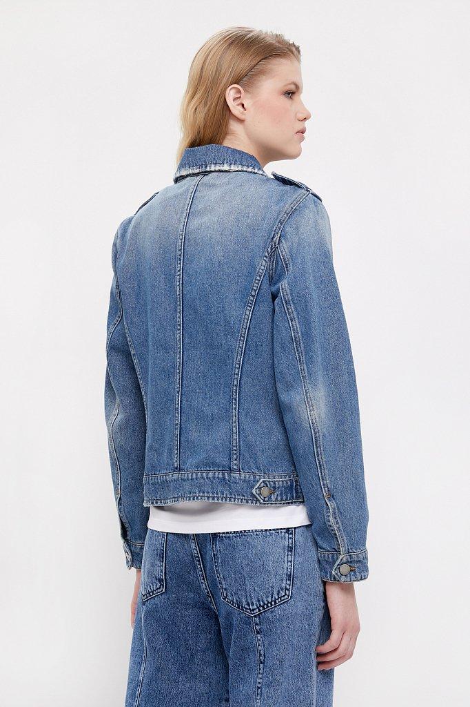 Куртка-косуха из голубого денима, Модель B21-15001, Фото №5