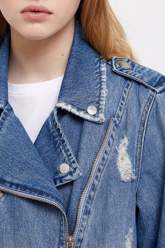 Куртка-косуха из голубого денима, Модель B21-15001, Фото №6