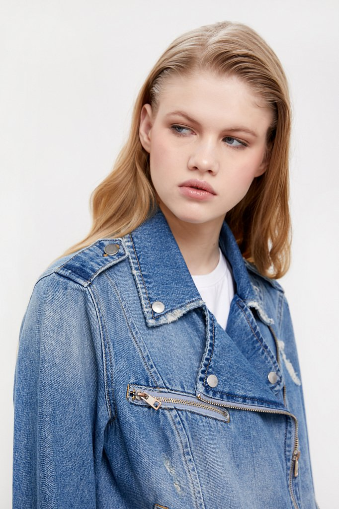 Куртка-косуха из голубого денима, Модель B21-15001, Фото №7