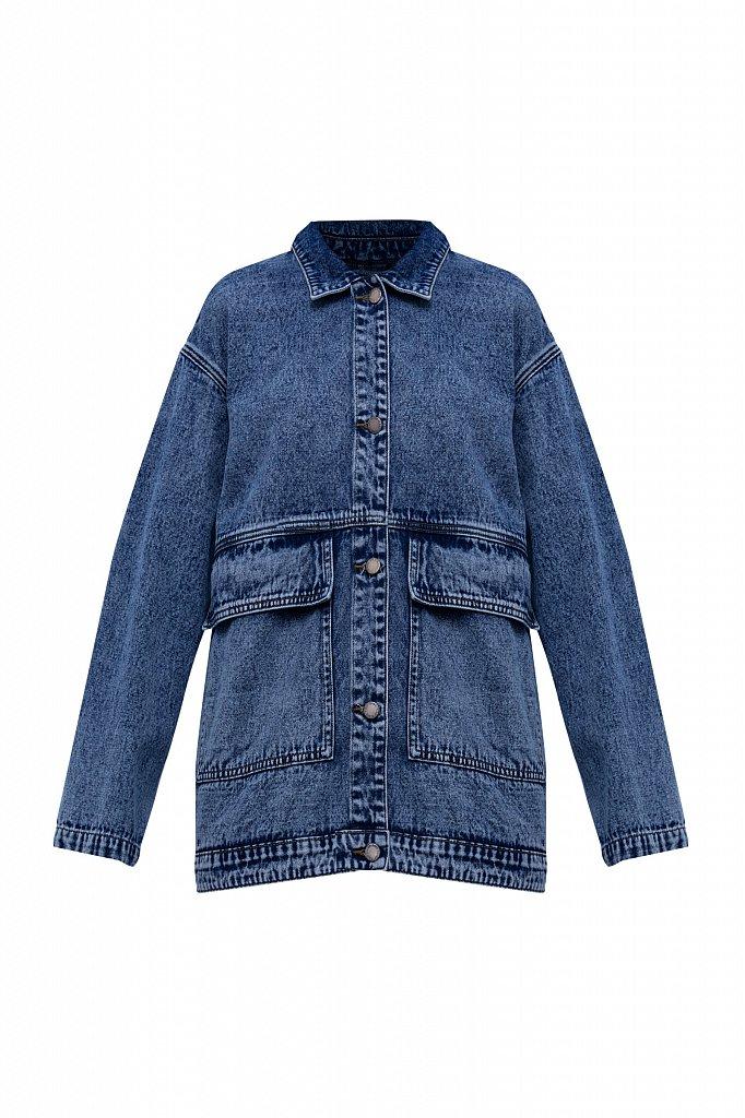 Джинсовая куртка с накладными карманами, Модель B21-15015, Фото №8