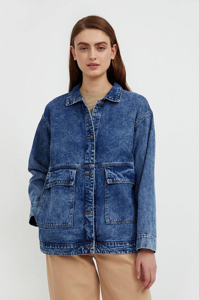 Джинсовая куртка с накладными карманами, Модель B21-15015, Фото №1