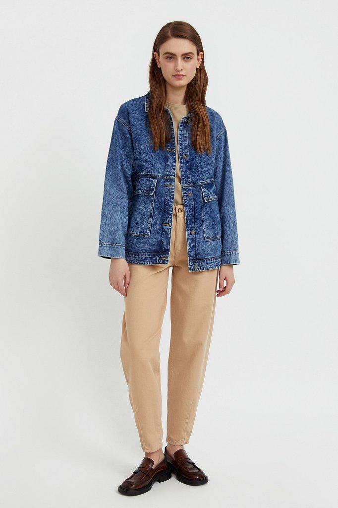 Джинсовая куртка с накладными карманами, Модель B21-15015, Фото №2