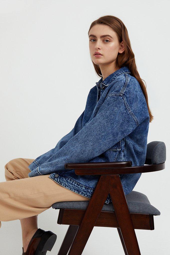 Джинсовая куртка с накладными карманами, Модель B21-15015, Фото №3