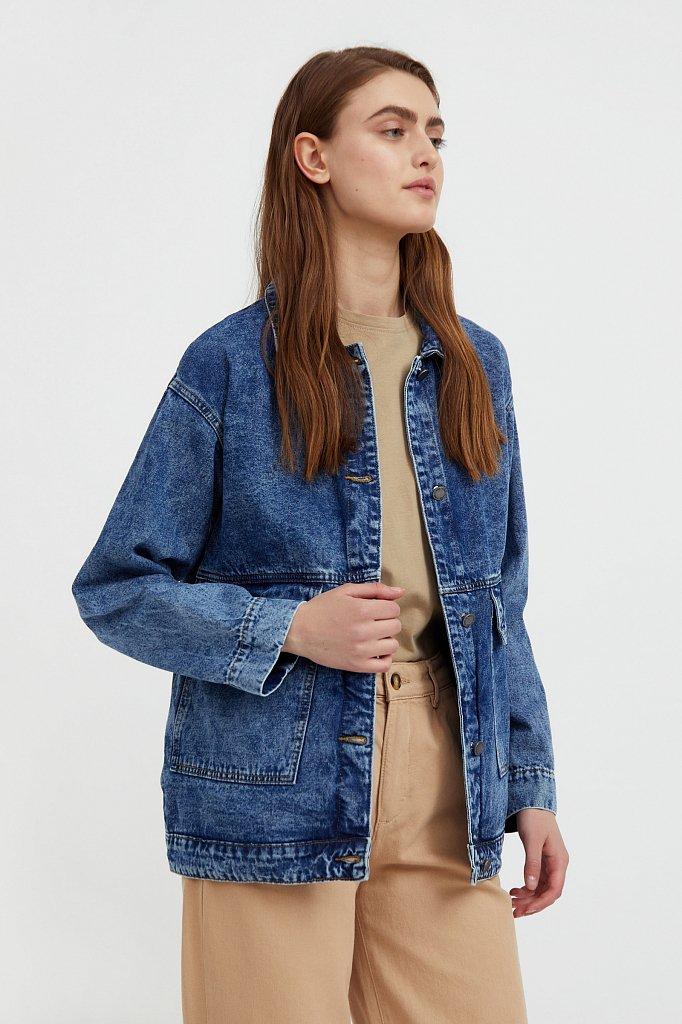 Джинсовая куртка с накладными карманами, Модель B21-15015, Фото №4
