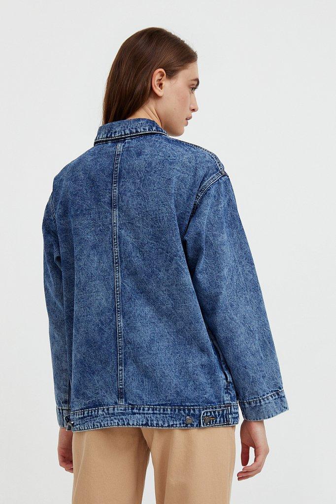Джинсовая куртка с накладными карманами, Модель B21-15015, Фото №5