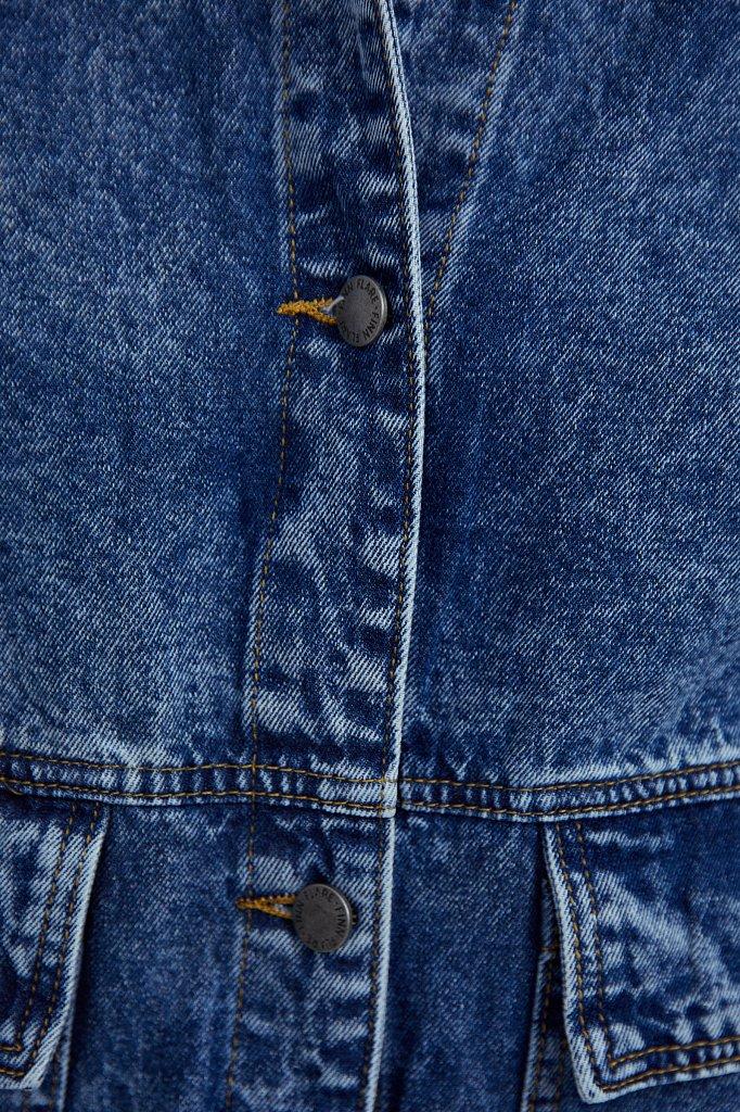 Джинсовая куртка с накладными карманами, Модель B21-15015, Фото №6