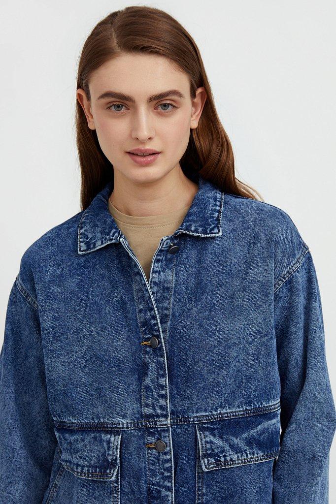 Джинсовая куртка с накладными карманами, Модель B21-15015, Фото №7