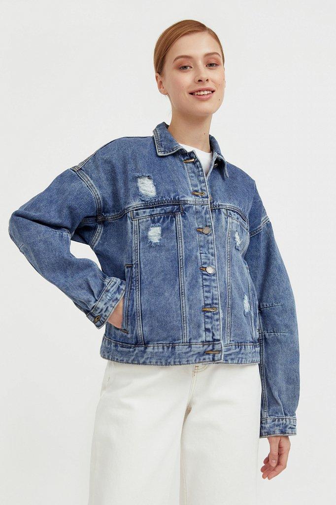 Джинсовая куртка с объемными рукавами, Модель B21-15016, Фото №1