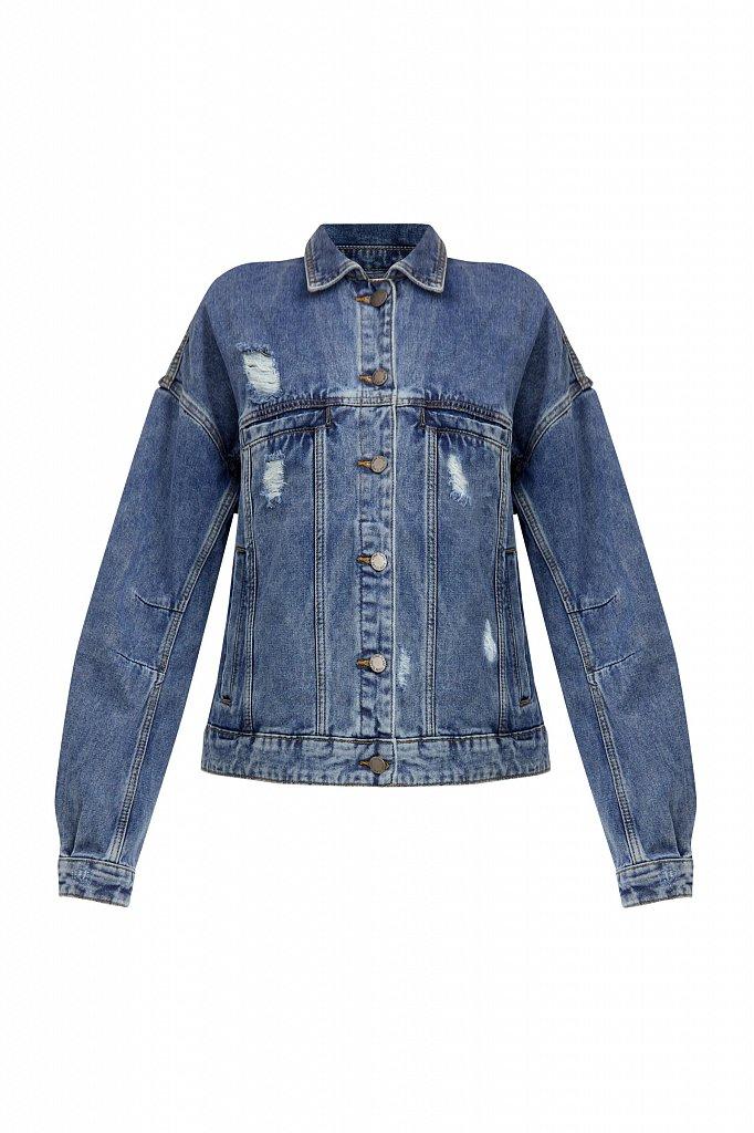 Джинсовая куртка с объемными рукавами, Модель B21-15016, Фото №7