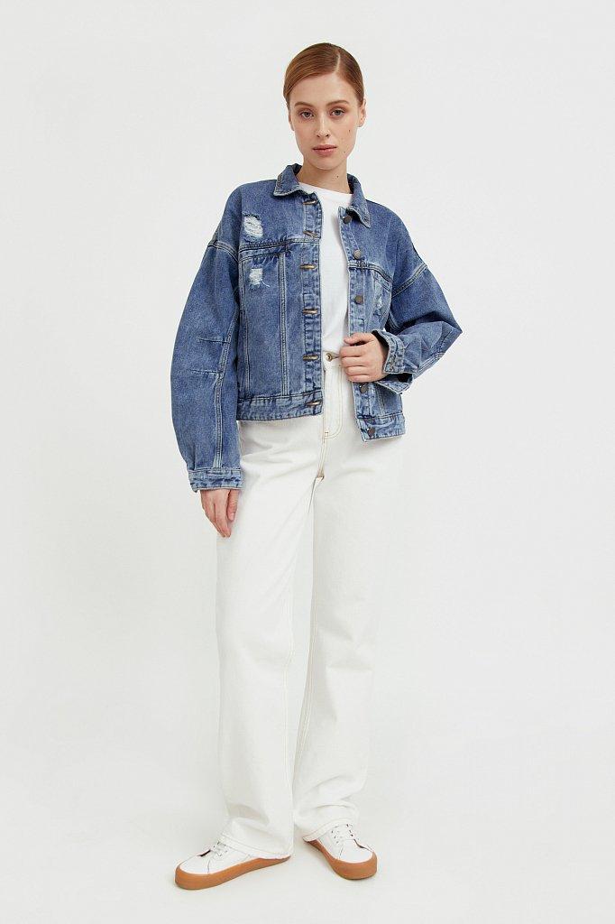 Джинсовая куртка с объемными рукавами, Модель B21-15016, Фото №2