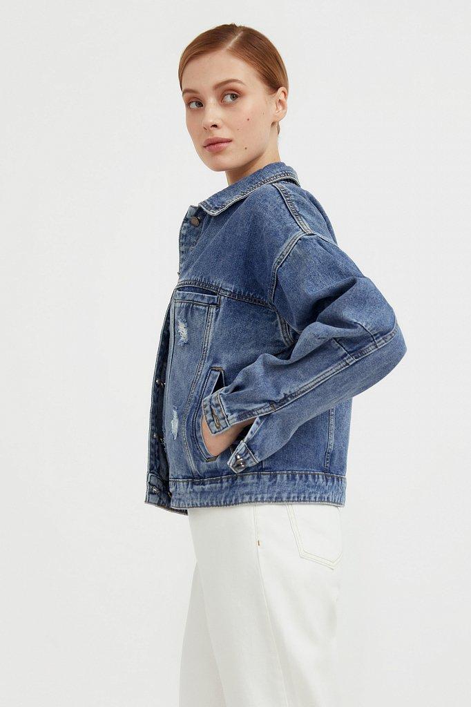 Джинсовая куртка с объемными рукавами, Модель B21-15016, Фото №3