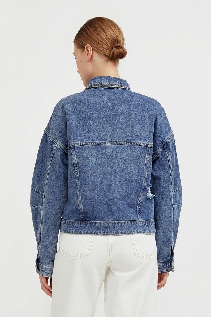 Джинсовая куртка с объемными рукавами, Модель B21-15016, Фото №4