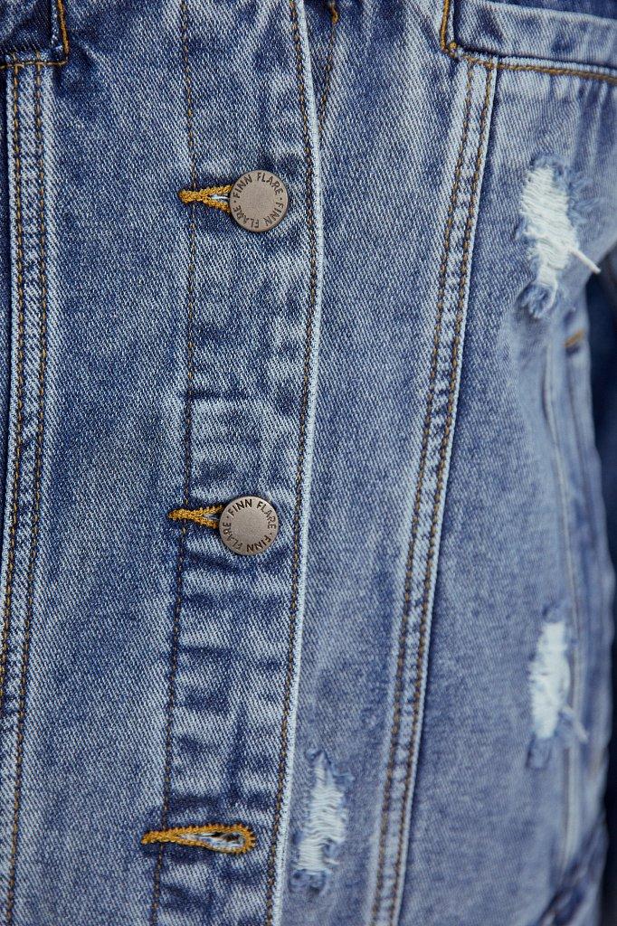 Джинсовая куртка с объемными рукавами, Модель B21-15016, Фото №5