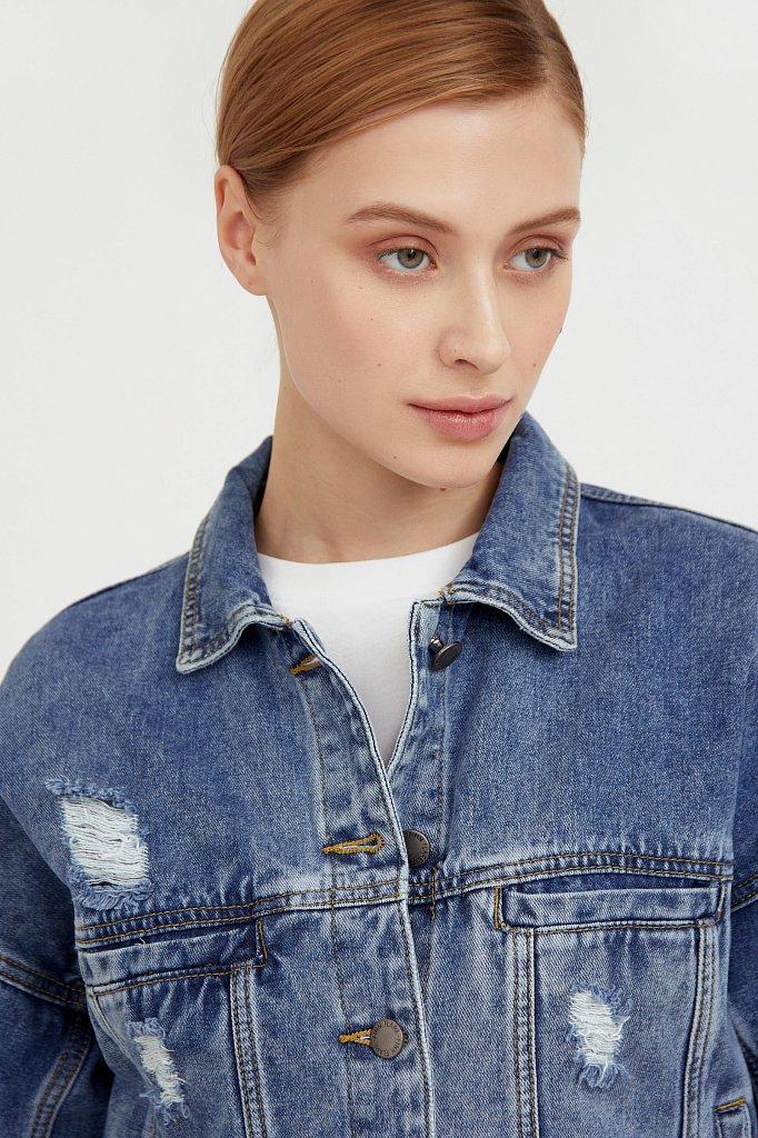 Джинсовая куртка с объемными рукавами, Модель B21-15016, Фото №6