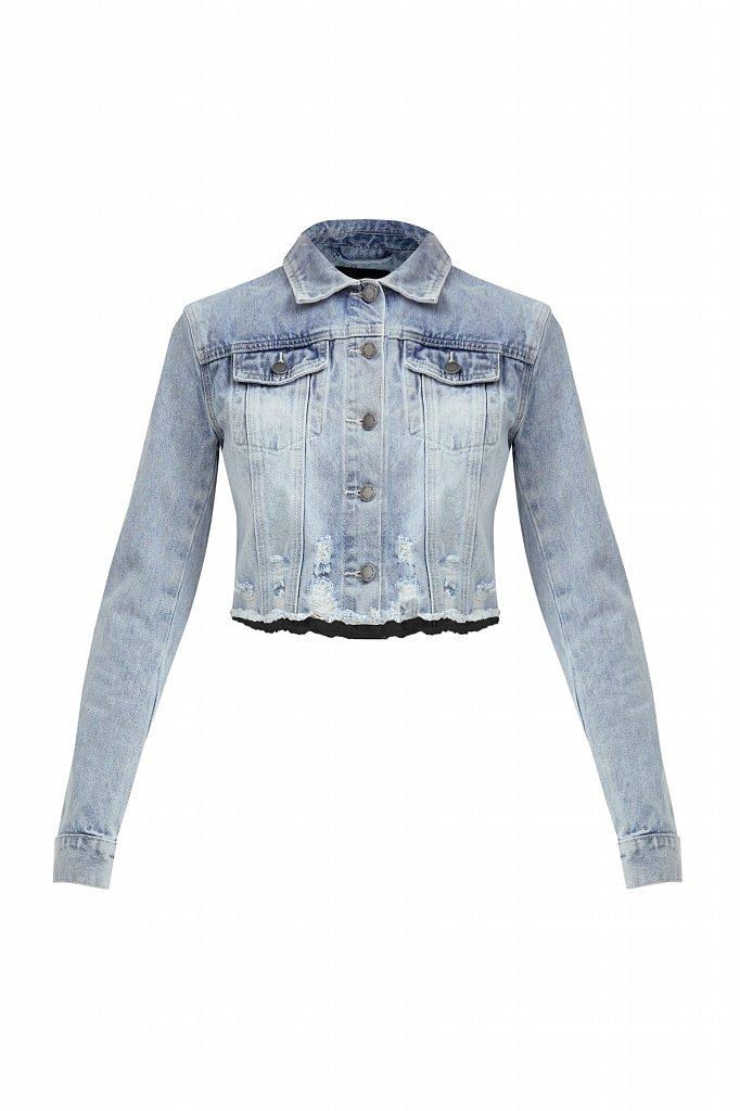 Укороченная джинсовая куртка, Модель B21-15026, Фото №7