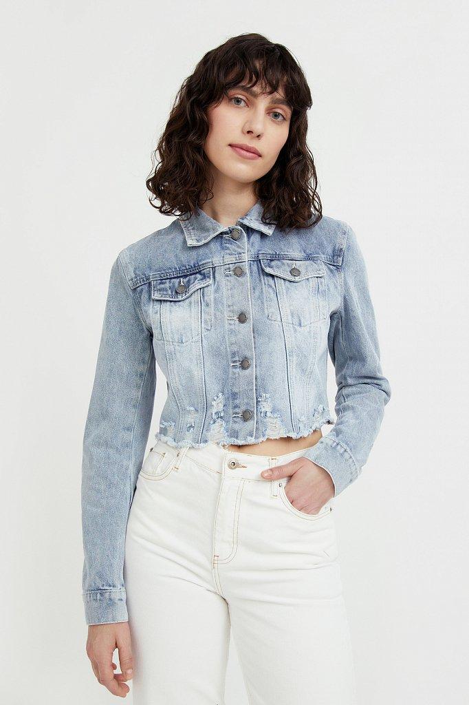 Укороченная джинсовая куртка, Модель B21-15026, Фото №1