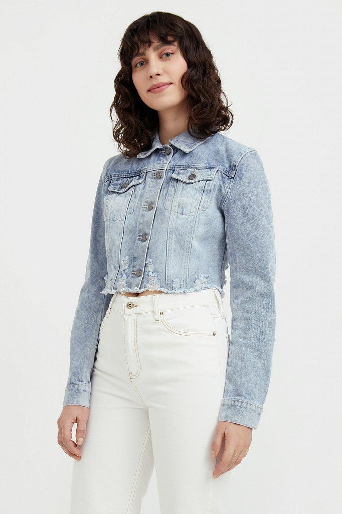 Укороченная джинсовая куртка, Модель B21-15026, Фото №3