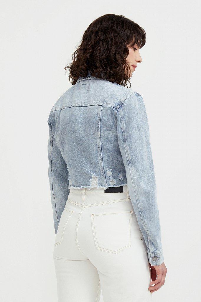 Укороченная джинсовая куртка, Модель B21-15026, Фото №4