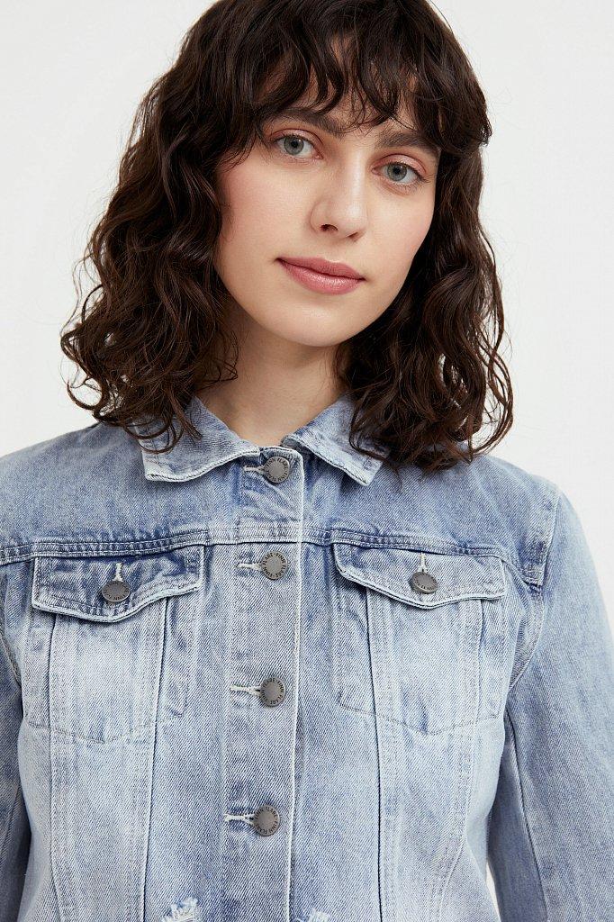 Укороченная джинсовая куртка, Модель B21-15026, Фото №6