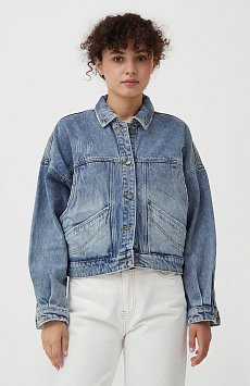 Укороченная джинсовая куртка B21-15017
