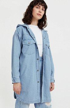 Джинсовая куртка-рубашка с капюшоном B21-15029
