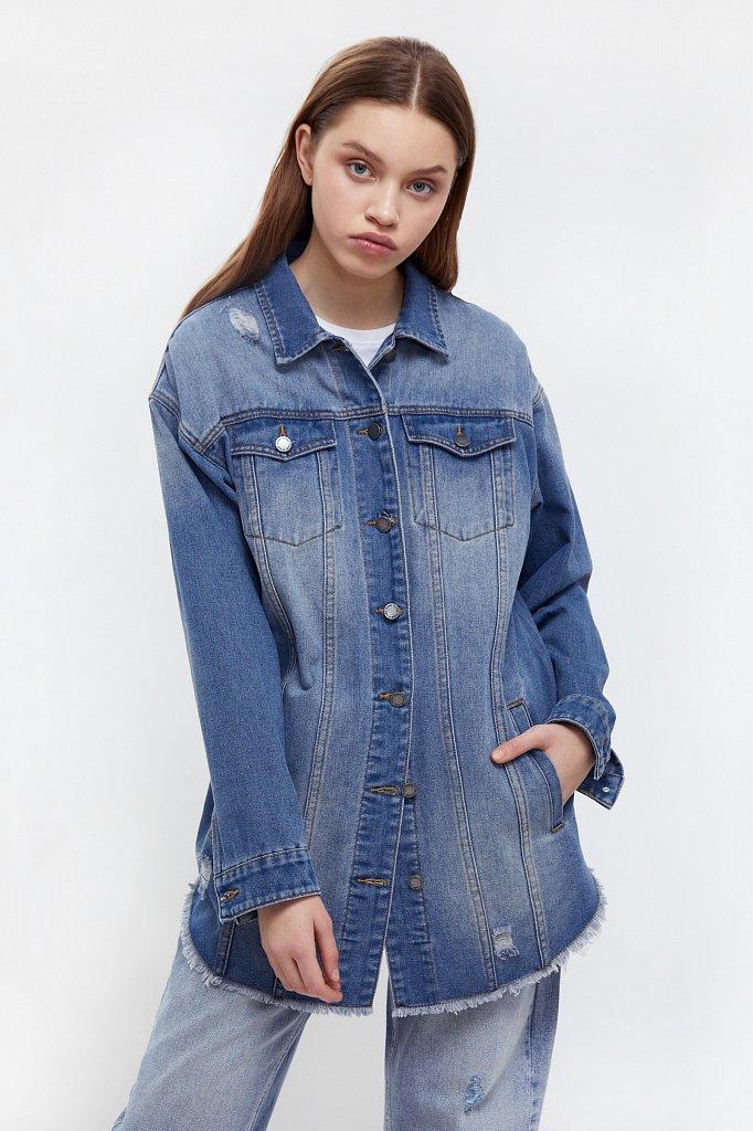 Куртка-рубашка из денима, Модель B21-15002, Фото №1