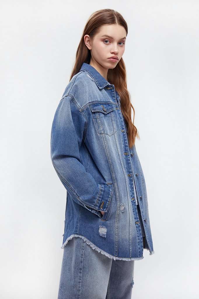 Куртка-рубашка из денима, Модель B21-15002, Фото №3
