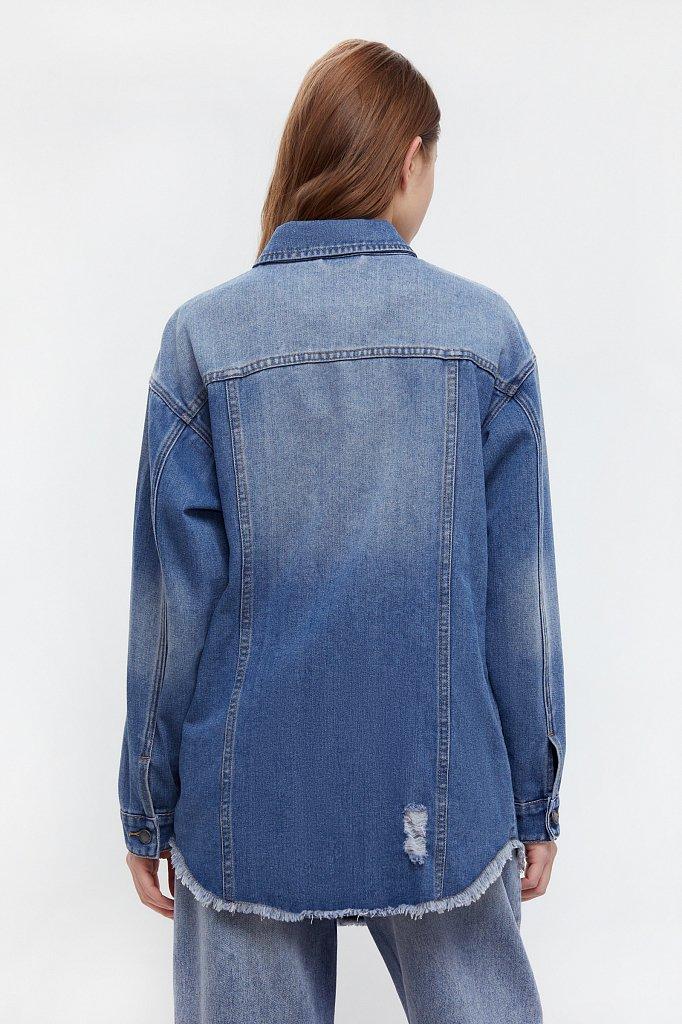 Куртка-рубашка из денима, Модель B21-15002, Фото №4