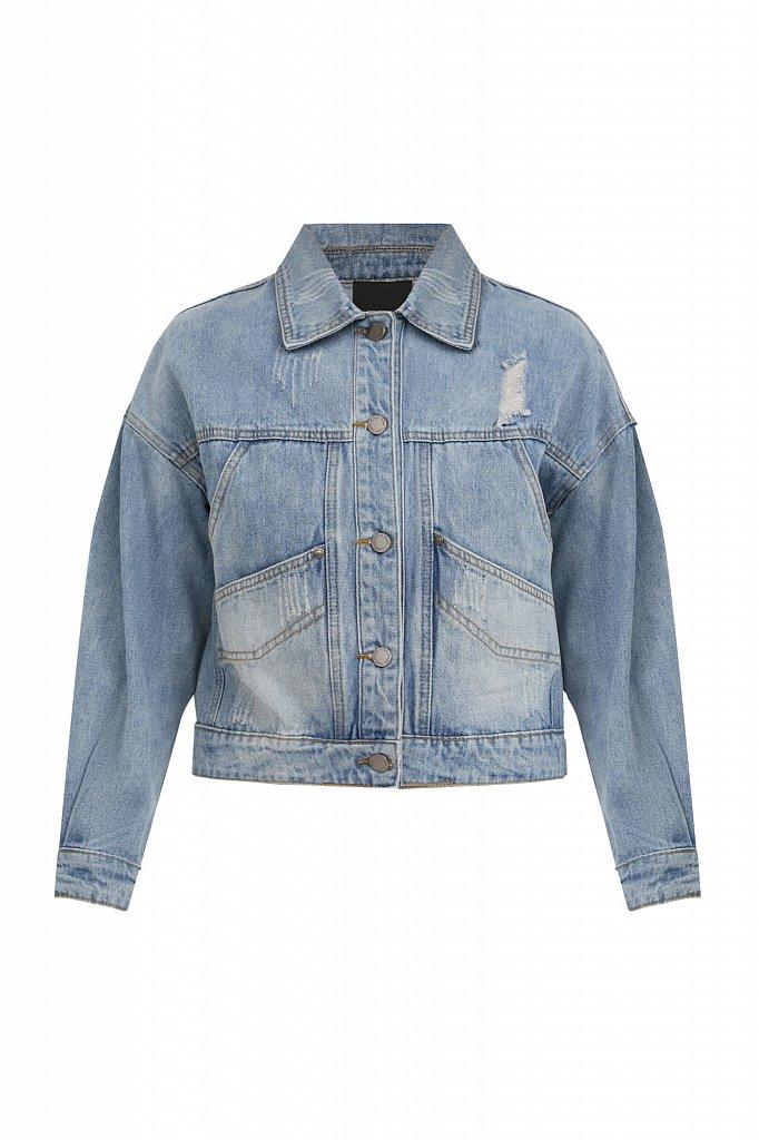 Укороченная джинсовая куртка, Модель B21-15017, Фото №7