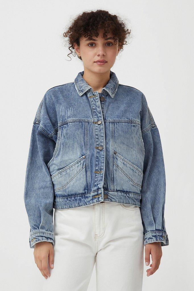 Укороченная джинсовая куртка, Модель B21-15017, Фото №1